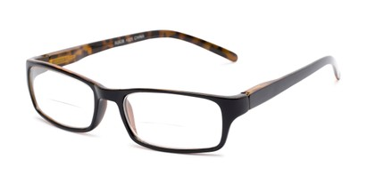 Angle of The Vancouver Bifocal in Black/Yellow Tortoise, Women's and Men's Rectangle Reading Glasses
