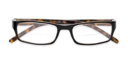 Folded of The Vancouver Bifocal in Black/Yellow Tortoise