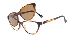 Angle of The Vega Polarized Magnetic Reading Sunglasses in Brown Tortoise with Amber, Women's Cat Eye Reading Glasses