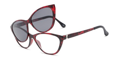 Angle of The Vega Polarized Magnetic Reading Sunglasses in Red Tortoise with Smoke, Women's Cat Eye Reading Glasses