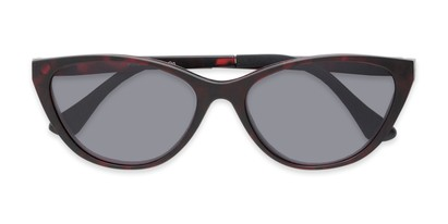 Folded of The Vega Polarized Magnetic Reading Sunglasses in Red Tortoise with Smoke