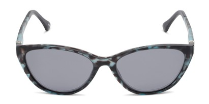 Front of The Vega Polarized Magnetic Reading Sunglasses in Blue Tortoise with Smoke