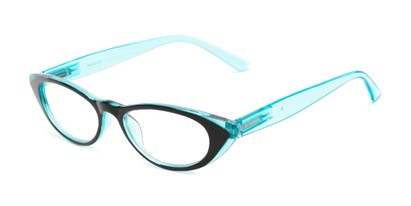 Angle of The Velveteen in Black/Aqua Blue, Women's Cat Eye Reading Glasses
