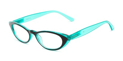 Angle of The Velveteen in Black/Green, Women's Cat Eye Reading Glasses