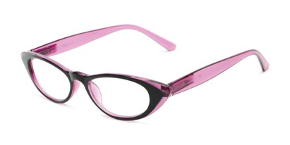 Angle of The Velveteen in Black/Purple, Women's Cat Eye Reading Glasses