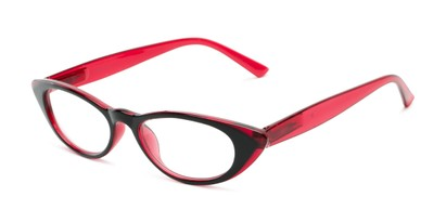 Angle of The Velveteen in Black/Red, Women's Cat Eye Reading Glasses