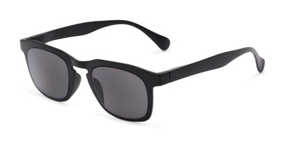 Angle of The Vinton Reading Sunglasses in Black with Smoke, Women's and Men's Retro Square Reading Sunglasses