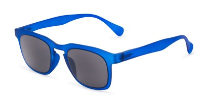 Angle of The Vinton Reading Sunglasses in Blue with Smoke, Women's and Men's Retro Square Reading Sunglasses