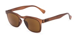 Angle of The Vinton Reading Sunglasses in Brown with Amber, Women's and Men's Retro Square Reading Sunglasses