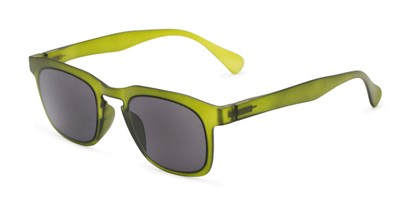 Angle of The Vinton Reading Sunglasses in Green with Smoke, Women's and Men's Retro Square Reading Sunglasses