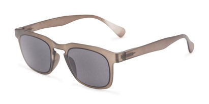 Angle of The Vinton Reading Sunglasses in Grey with Smoke, Women's and Men's Retro Square Reading Sunglasses