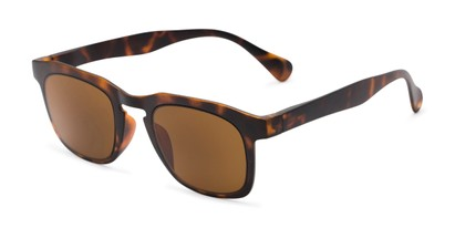 Angle of The Vinton Reading Sunglasses in Tortoise with Amber, Women's and Men's Retro Square Reading Sunglasses