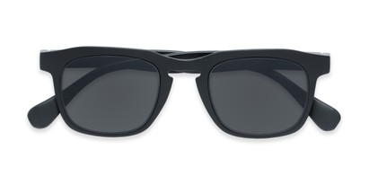 Folded of The Vinton Reading Sunglasses in Black with Smoke