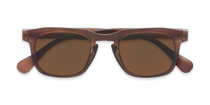 Folded of The Vinton Reading Sunglasses in Brown with Amber