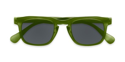 Folded of The Vinton Reading Sunglasses in Green with Smoke