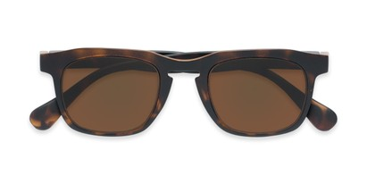 Folded of The Vinton Reading Sunglasses in Tortoise with Amber