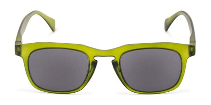 Front of The Vinton Reading Sunglasses in Green with Smoke