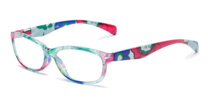 Angle of The Vivienne in Blue Floral Multi, Women's Cat Eye Reading Glasses