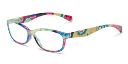Angle of The Vivienne in Pink Floral Multi, Women's Cat Eye Reading Glasses