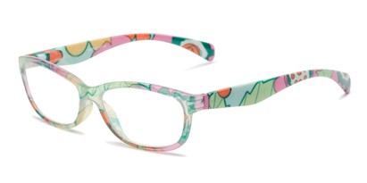 Angle of The Vivienne in Yellow Floral Multi, Women's Cat Eye Reading Glasses