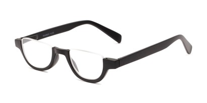 Angle of The Von in Matte Black, Women's and Men's Round Reading Glasses