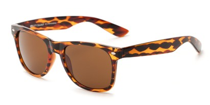 Angle of The Wanderer Unmagnified Sunglasses in Brown Tortoise with Amber, Women's and Men's Retro Square Sunglasses