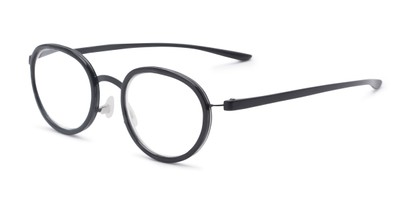 Angle of The Wanderlust in Black Marble, Women's and Men's Round Reading Glasses
