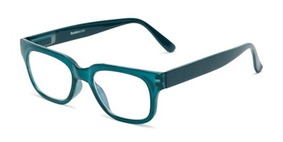 Angle of The Wave Computer Reader in Teal Blue, Women's and Men's Retro Square Reading Glasses