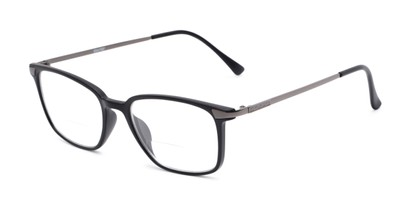 Angle of The Wetherford Bifocal in Black/Grey, Women's and Men's Retro Square Reading Glasses