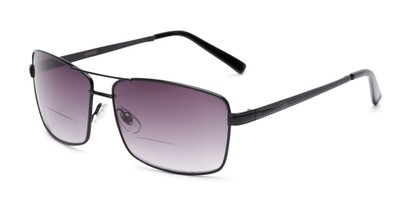 Angle of The Wilde Bifocal Reading Sunglasses in Black with Smoke, Women's and Men's Aviator Reading Sunglasses