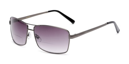 Angle of The Wilde Bifocal Reading Sunglasses in Grey with Smoke, Women's and Men's Aviator Reading Sunglasses