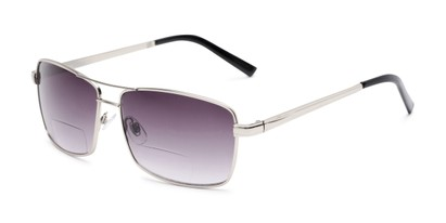 Angle of The Wilde Bifocal Reading Sunglasses in Silver with Smoke, Women's and Men's Aviator Reading Sunglasses