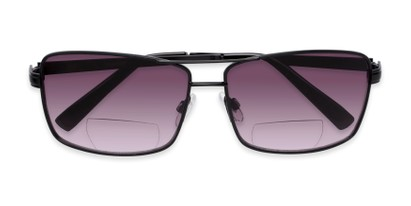 Folded of The Wilde Bifocal Reading Sunglasses in Black with Smoke