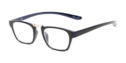 Angle of The Wilder Hanging Reader in Black/Navy Blue with Gold, Women's and Men's Retro Square Reading Glasses