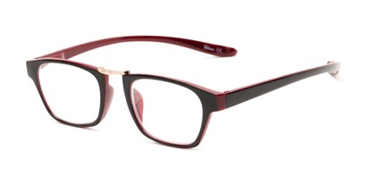 Angle of The Wilder Hanging Reader in Black/Burgundy Red with Gold, Women's and Men's Retro Square Reading Glasses