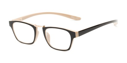 Angle of The Wilder Hanging Reader in Black/Tan with Gold, Women's and Men's Retro Square Reading Glasses