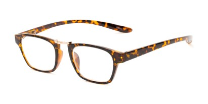 Angle of The Wilder Hanging Reader in Tortoise with Gold, Women's and Men's Retro Square Reading Glasses