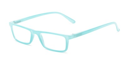 Angle of The Wilhelmina in Bright Aqua, Women's Rectangle Reading Glasses