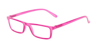 Angle of The Wilhelmina in Berry Pink, Women's Rectangle Reading Glasses