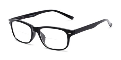 Angle of The Williamsburg Bifocal in Black, Women's and Men's Retro Square Reading Glasses