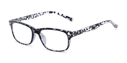 Angle of The Williamsburg Bifocal in Black Tortoise, Women's and Men's Retro Square Reading Glasses