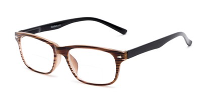 Angle of The Williamsburg Bifocal in Brown Stripe, Women's and Men's Retro Square Reading Glasses