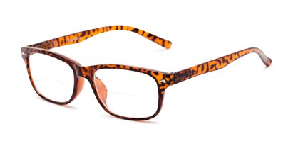Angle of The Williamsburg Bifocal in Brown Tortoise, Women's and Men's Retro Square Reading Glasses