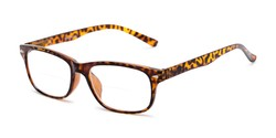 Angle of The Williamsburg Bifocal in Yellow Tortoise, Women's and Men's Retro Square Reading Glasses