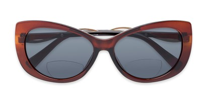 Folded of The Wink Bifocal Reading Sunglasses in Brown with Smoke