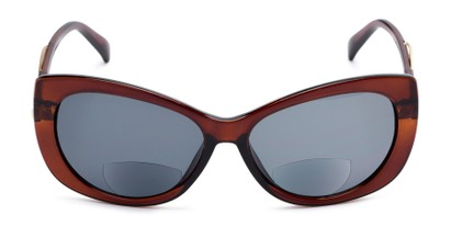 Front of The Wink Bifocal Reading Sunglasses in Brown with Smoke