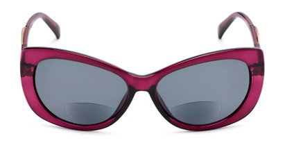 Front of The Wink Bifocal Reading Sunglasses in Purple with Smoke