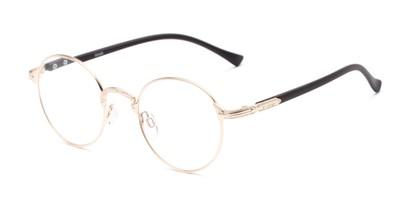 Angle of The Woodrow in Gold/Brown, Women's and Men's Round Reading Glasses