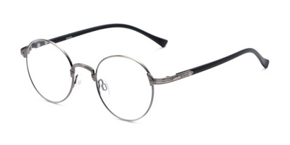 Angle of The Woodrow in Grey/Black, Women's and Men's Round Reading Glasses