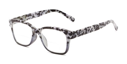 Angle of The Wren Bifocal in Grey Tortoise Fade, Women's Retro Square Reading Glasses